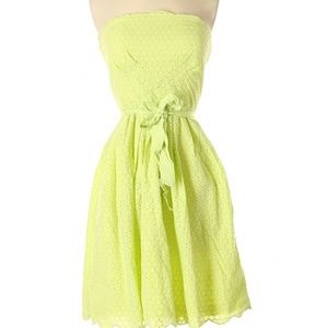 Donna Morgan Eyelet cotton lace dress strapless 2